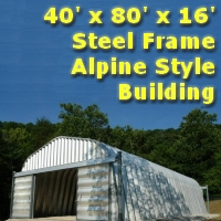 40' x 80' x 16' Steel Frame Alpine Style Workshop Storage Building