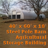 40' x 60' x 18' Steel Storage Metal Arch Pole Barn Agricultural Building
