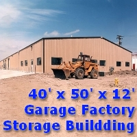 40' x 50' x 12' Steel Frame Tractor Garage Factory Storage Building