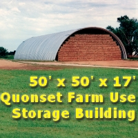 50' x 50' x 17' Steel Quonset Farm Use Storage Building Kit