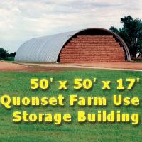 50' x 50' x 17' Steel Quonset Farm Use Storage Building Kit