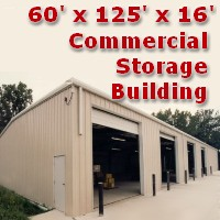 60' x 125' x 16' Steel Frame Factory Warehouse Commercial Storage Building