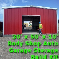 30' x 50' x 10' Steel Frame Auto Body Garage Shop Build Kit