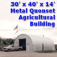 30' x 40' x 14' Metal Arch Quonset Agricultural Storage Building