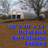 30' x 40' x 14' Steel Storage Metal Arch Barn Storage Building