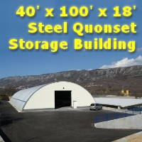 40' x 100' x 18' Steel Metal Arch Quonset Hut Storage Building
