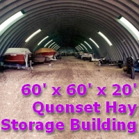 60' x 60' x 20' Quonset Metal Arch Farm Dome Building