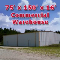 75' x 150' x 16' Steel Frame Factory Warehouse Commercial Storage Building