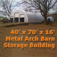 40' x 70' x 16' Steel Storage Metal Arch Pole Barn Building