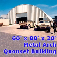60' x 80' x 20' Metal Arch Quonset Storage Dome Building