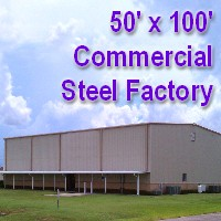 50' x 100' x 16' Steel Frame Factory Warehouse Commercial Storage Building