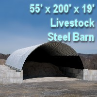 55' x 200' x 19' Steel Quonset Barn Hay & Grain Storage Livestock Building