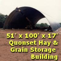 51' x 100' x 17' Steel Quonset Hay & Grain Storage Building