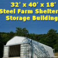 32' x 40' x 18' Metal Farm Shelter Storage Building