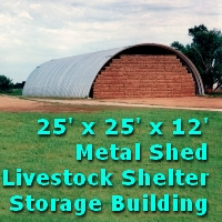 25' x 25' x 12' Steel Quonset Metal Shed Storage Building Kit