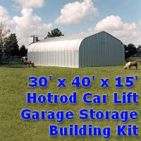 30' x 40' x 15' Hotrod Car Lift Garage Storage Building Kit