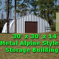 30' x 30' x 14' Alpine Style Metal Storage Workshop Building