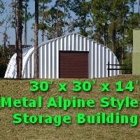 30' x 30' x 14' Alpine Style Metal Storage Workshop Building