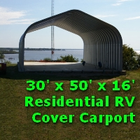 30' x 50' x 16' Residential RV Covered Carport