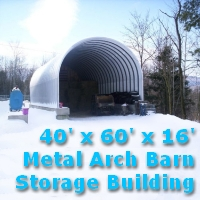 40' x 60' x 16' Prefab Metal Arch Barn Storage Building Kit