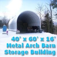 40' x 60' x 16' Prefab Metal Arch Barn Storage Building Kit