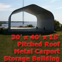 30' x 40' x 15' Pitched Roof Metal Garage Storage Building