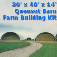 30' x 40' x 14' Steel Quonset Barn Farm Storage Building Kit