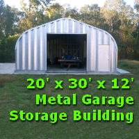 20' x 30' x 12' Metal Garage Storage Building Kit