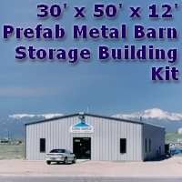 30' x 50' x 12' Steel Frame Prefab Metal Barn Storage Building
