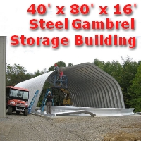 40' x 80' x 16' Steel Frame Gambrel Arch Equipment Storage Building