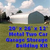 20' x 26' x 12' Metal Two Car Garage General Storage Building