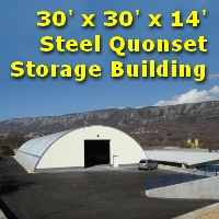 30' x 30' x 14' Quonset Metal Arch Agricultural Material Building