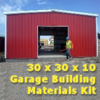 30' x 30' x 10' Garage Building Materials Kit