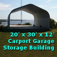 20' x 30' x 12' Metal Garage General Storage Carport Building