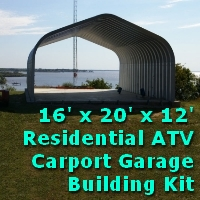 16' x 20' x 12' Pitched Roof Metal Carport Garage Storage Building