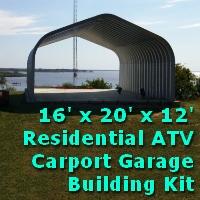 16' x 20' x 12' Pitched Roof Metal Carport Garage Storage Building