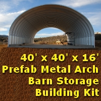 40' x 40' x 16' Metal Arch Garage Barn Storage Building