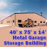 40' x 75' x 14' Metal Frame Garage Storage Building