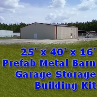 25' x 40' x 16' Prefab Metal Barn Garage Storage Building Kit