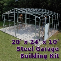 20' x 24' x 10' Steel Frame Shed Garage Building Kit