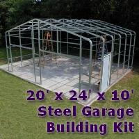 20' x 24' x 10' Steel Frame Shed Garage Building Kit