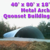 40' x 80' x 18' Prefab Metal Arch Quonset Storage Building
