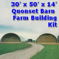 30' x 50' x 14' Steel Quonset Barn Farm Storage Building Kit