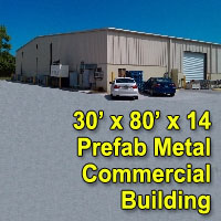 30' x 80' x 14' Steel Frame Factory Warehouse Commercial Storage Building