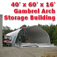 40' x 60' x 16' Steel Frame Gambrel Arch Equipment Storage Building