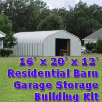 16' x 20' x 12' Metal Residential Garage General Storage Building