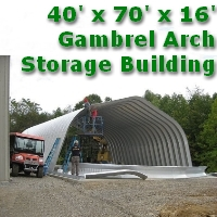 40' x 70' x 16' Steel Frame Gambrel Arch Construction Equipment Storage Building