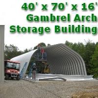 40' x 70' x 16' Steel Frame Gambrel Arch Construction Equipment Storage Building