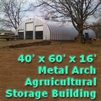 40' x 60' x 16' Steel Storage Metal Arch Pole Barn Building