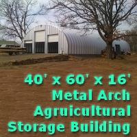 40' x 60' x 16' Steel Storage Metal Arch Pole Barn Building